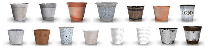 Array of daVinci decorated pots
